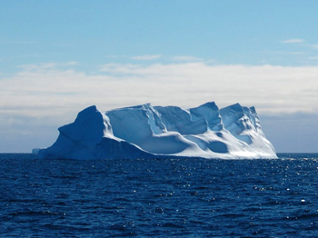 The JOIDES employed a full time ice observer to keep a look out for icebergs, like this one drifting westward off the Antarctic coast.