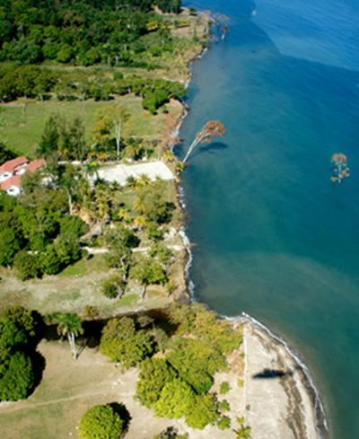 Slump in the coastline, near where a tsunami killed seven people.