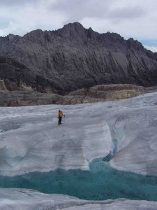 With glaciers now melting worldwide, understanding their dynamics past and present is key to projecting the future. Lamont scientists study ice trends all over the world. Here, a researcher on an expedition to core the waning glacier atop Indonesia's Puncak Jaya, earth's highest peak between the Andes and the Himalayas.