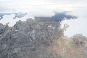 Four-fifths of the ice near the peak of Indonesia's Puncak Jaya  has disappeared in the last 70 years. Photo taken Aug. 27, 2008 from a  helicopter by expedition co-leader Dwi Susanto.