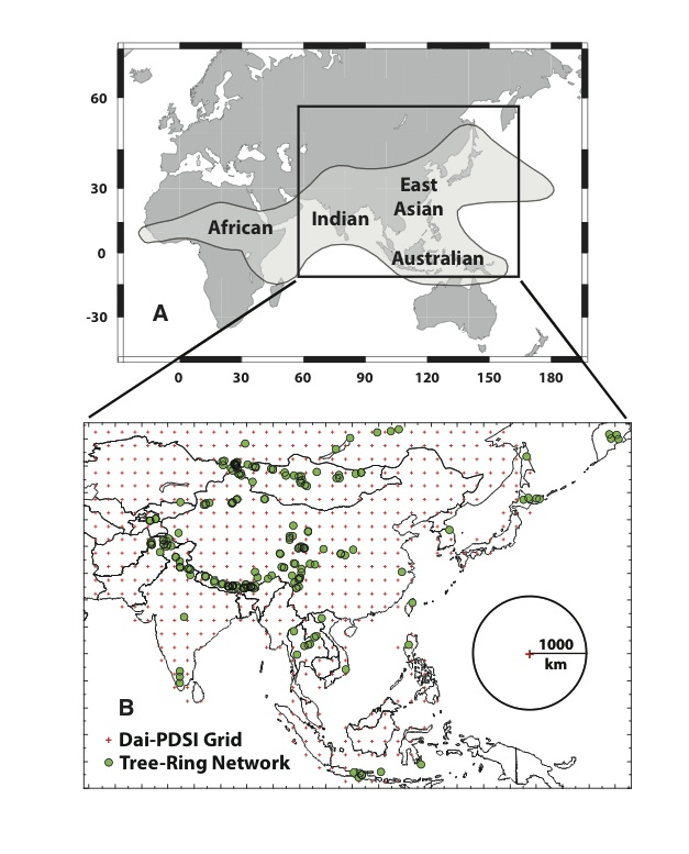 Monsoon rains touch a huge part of the world. Lamont scientists crossed most of Asia to sample sites (green dots) to reconstruct past droughts.