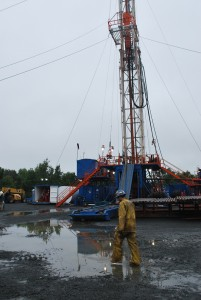 This drill rig in Rockland County has so far tunneled through 4,000 feet of rock.