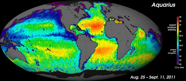 NASA's new map shows how salt is distributed in the surface layer of earth's oceans. The saltiest places are in red; the least salty, in purple. Credit: NASA.
